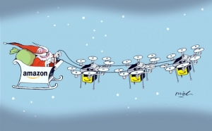 Santa Claus on sleigh pulled by Amazon drones