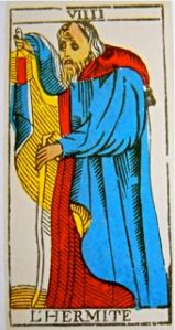 The Hermit, from the Marseilles Tarot.