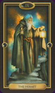 Gilded Tarot- The Hermit