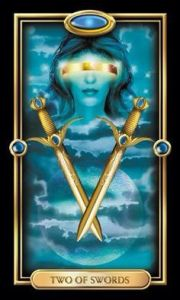 Gilded Tarot- Two of Swords