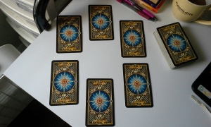 Tarot Deck Interview Spread. Cards facing down.