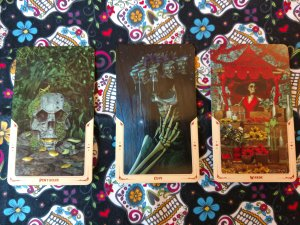 April Fool Tarot Challenge Day 9 cards. Ace of Pentacles, Nine of Cups, Four of Wands