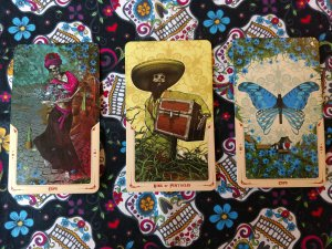 April Fool Challenge Day 11 cards. Six of Cups, King of Pentacles, Ten of Cups