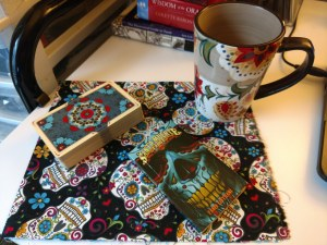 Deck of cards, deck book, and coffee mug