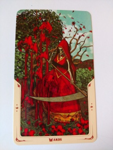 Nine of Wands from the Santa Muerte Tarot