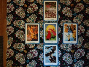 My summer solstice spread, cards revealed.