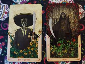 Two Tarot cards: King of Swords and Justice-XI, from the Santa Muerte Tarot deck