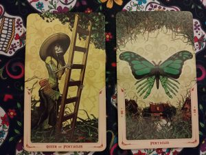 Two Tarot cards: Queen of Pentacles and Ten of Pentacles, from the Santa Muerte Tarot deck
