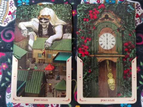 Two Tarot cards: Four of Pentacles and Six of Pentacles from the Santa Muerte Tarot deck