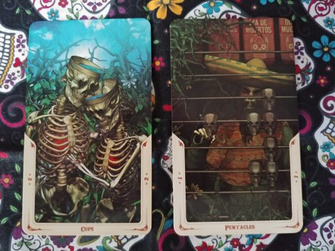 Two Tarot cards. Two of Cups and Seven of Pentacles from the Santa Muerte Tarot deck