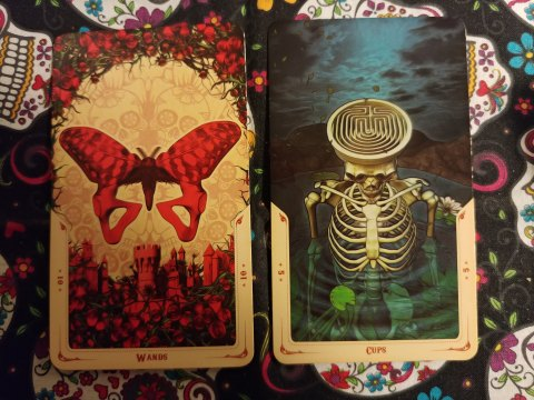 Two cards: Ten of Wands and Five of Cups from the Santa Muerte Tarot deck