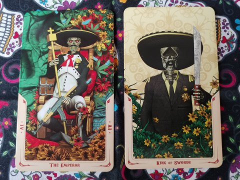 Two Tarot cards: The Emperor- IV and King of Swords from the Santa Muerte Tarot deck.